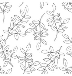 branches with leaves seamless pattern hand drawn vector image
