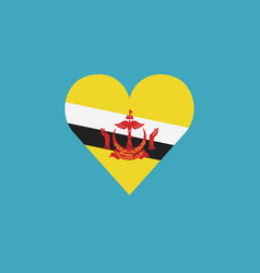brunei flag icon in a heart shape in flat design vector image