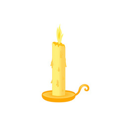 candle with stand yellow molten isolated on vector image