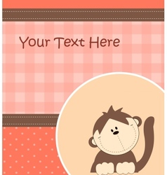 Card with cartoon monkey vector image