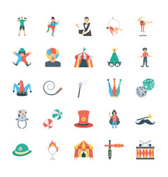 Carnival circus icons vector