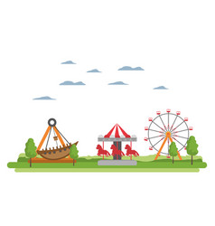 Carnival with funny mechanical ride games vector