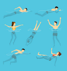 cartoon characters swimming and diving people set vector image