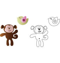 Cartoon cute toy baby monkey and bird vector