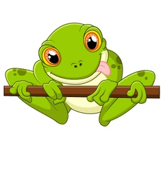 Cartoon frog holding tree vector