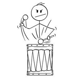 Cartoon man drummer or businessman playing vector