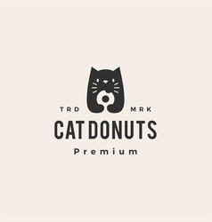 cat donuts hipster vintage logo icon vector image