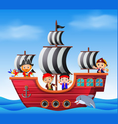 Children on pirate ship and ocean scene vector
