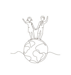 Children standing a globe - one line design style vector
