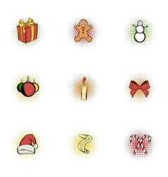 Christmas icons set pop-art style vector