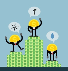 Coin money get rank first second third vector