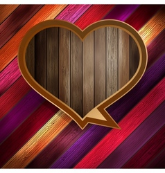 Colorful wooden heart on wood EPS 10 vector image