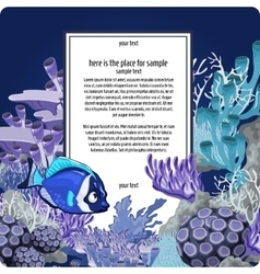 Corals and fish with vertical card for text vector image