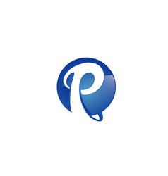 Creative blue p letter cicle logo vector