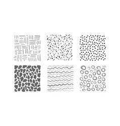 cute abstract irregular patterns set black gray vector image