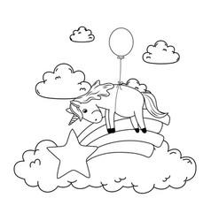 cute fairytale unicorn with balloon helium and vector image
