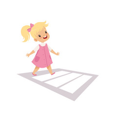 Cute girl using cross walk to cross street vector