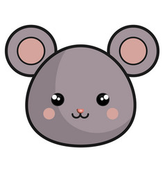 Cute mouse kawaii style vector
