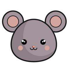 Cute mouse kawaii style vector
