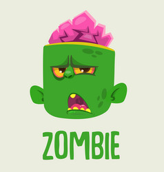 cute zombie head cartoon character vector image