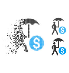Dispersed dotted halftone walking banker with vector