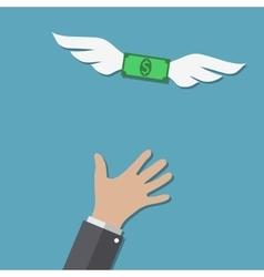 Dollar bill flying over hand vector