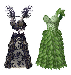 Dresses in form of tree and leaves on eco theme vector