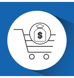 E-commerce cart shop bag money icon vector