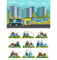Ecology Orthogonal Compositions Set vector image