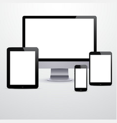 Electronic devices with blank white screens vector