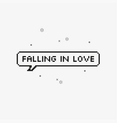 Falling in love in speech bubble 8-bit pixel art vector