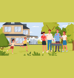 Family people on bbq party in backyard garden or vector
