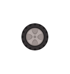 flat car wheel with tire isolated icon vector image