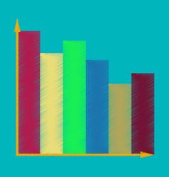 Flat shading style icon economic chart vector