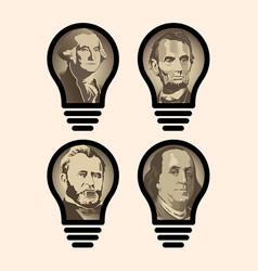 four idea light bulbs that are us presidents vector image