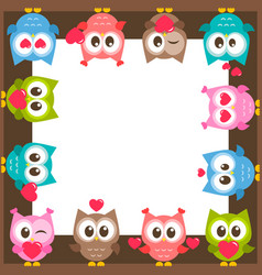 frame with owls and hearts vector image