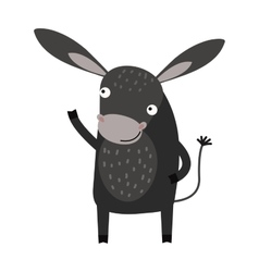 Funny cartoon gray donkey farm animal character vector