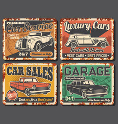 Garage station rent car sale rusty plates vector