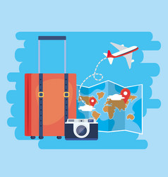 Global map with location sign and baggage vector