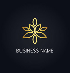 Gold floral ornament line logo vector