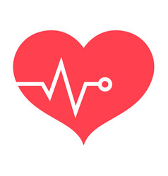 heart pulse flat icon fitness and sport vector image