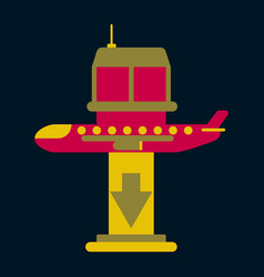 Icon in flat design for airport plane landing vector