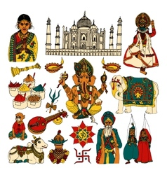 India sketch set vector