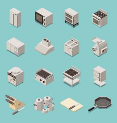 industrial kitchen equipment isometric set vector image