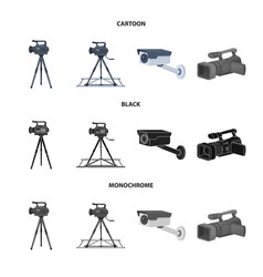 Isolated object camcorder and camera icon vector
