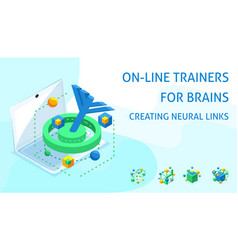 isometric brain development concept creating neur vector image