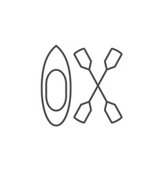 kayak and oars line outline icon vector image
