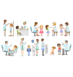 kids on medical examination vector image
