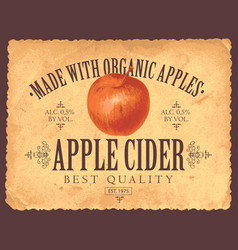 Label for apple cider with apple in retro style vector