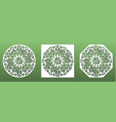 laser cut coasters ornate with mandala floral vector image